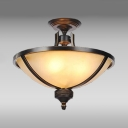 Dining Room Dome Semi Flush Mount Light Frosted Glass 3 Lights Antique Style Ceiling Light
