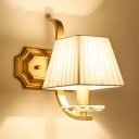White Trapezoid Shade Wall Light 1/2 Lights Elegant Style Metal Sconce Light for Bedroom
