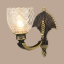 Dome Shade Wall Sconce 1/2 Lights Elegant Style Clear Glass Metal Wall Light for Foyer Study Room