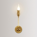 Metal Candle Wall Light 1/2 Light Colonial Style Sconce Light in Brass for Kitchen Restaurant