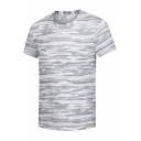 Men's Summer Hot Sale Camouflage Print Short Sleeve Round Neck Quick Dry Fitness T-Shirt
