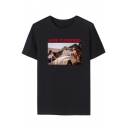Popular Figure Letter HAVE PONDERED Print Round Neck Short Sleeve Cotton T-Shirt for Guys