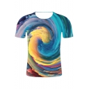 New Trendy Awesome Colorful Whirlpool 3D Printed Short Sleeve Tee