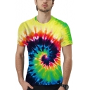 Summer New Trendy 3D Colorful Tie-Dye Whirlpool Pattern Loose Fit Unisex T-Shirt