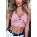 Summer Women's Sexy Bow-Knotted V-Neck Sleeveless Cropped Tank Top