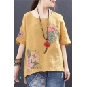 Chic Tribal Floral Embroidery Round Neck High Low Hem Relaxed Cotton T-Shirt