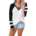 Womens New Trendy Colorblock Crisscross V-Neck Long Sleeve White Casual Tee