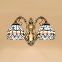 Stained Glass Bowl Wall Lamp Dining Room 2 Lights Tiffany Style Antique Sconce Light