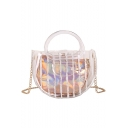 New Fashion Stripe Painted Transparent Crossbody Satchel Bag 19*7*14 CM