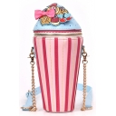 Cute Ice Cream Pattern Pink Crossbody Bucket Bag for Girls 7*7*28 CM