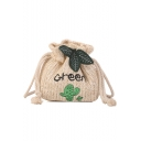 Summer Fashion Cactus Letter Embroidery Leaves Decoration Straw Drawstring Crossbody Bag 19*7*17 CM