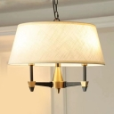 Traditional Tapered Chandelier Light Fabric 3 Lights White Ceiling Light for Dining Room