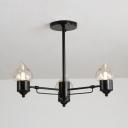 Candle Bedroom Bathroom Chandelier Metal 3/6/8 Lights Simple Style Suspension Light in Black
