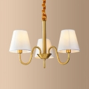 Hallway Hotel Tapered Chandelier Linen Metal 3/5/6 Lights Simple Style Brass Hanging Light