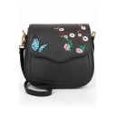 Trendy Butterfly Floral Embroidery Pattern Crossbody Saddle Bag 19*9*16 CM