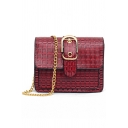 Simple Solid Color Square Hasp Crossbody Bag with Chain Strap 19*7*15 CM