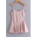 Girls Summer Simple Solid Color Ruffled Hem Mini Pink A-Line Slip Dress