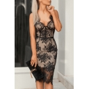 Sexy Trendy Spaghetti Straps Sleeveless Floral Pattern Black Midi Pencil Black Dress