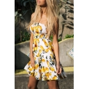 Women's Hot Fashion Floral Printed Sleeveless Mini Bodycon Beach White Dress