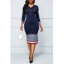 Ladies Trendy V-Neck Three Quarter Sleeve Stripe Print Button Front Back Zip Slit Sheath Midi Dress