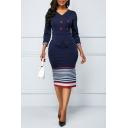 Ladies Trendy V-Neck Three Quarter Sleeve Stripe Print Button Front Back Zip Slit Sheath Midi Dress