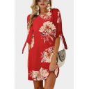 Summer Hot Fashion Floral Print Tie 3/4 Sleeve Round Neck Mini Shift Chiffon Dress for Women