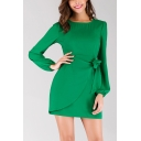Hot Fashion Elegant Puffed Long Sleeve Round Neck Bow-Tied Waist Mini Green Dress