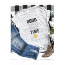 Funny Letter GOOD THINGS TAKE TIME Short Sleeve Round Neck Basic T-Shirt