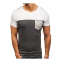 Man's Fashion Pocket Patched Colorblock Short Sleeve Fitted T-Shirt