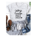 Jesus Loves This Hot Mess Heart Letter Printed Short Sleeve Basic T-Shirt