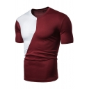 New Stylish Color Block Pattern Short Sleeve V-Neck Casual Sports T-Shirt for Men