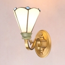 Conical Dining Room Sconce Light Glass Metal 1 Light Tiffany Style Antique Wall Light in White