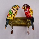 Vintage Style Parrot Wall Light 2 Lights Stained Glass Wall Lamp with Crystal for Bedroom