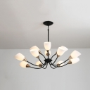 Modern Style Black Chandelier with Dome Shade 12 Lights Frosted Glass Hanging Light for Living Room
