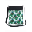 Fashion Pineapple Plants Printed Green Shoulder Messenger Bag 22.5*27 CM