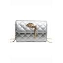 Stylish Diamond Quilted Leaf Tassel Embellishment Crossbody Clutch Bag 18*8*13 CM