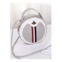 Fashion Color Block Stripe Patched Bee Embellishment Portable Round Crossbody Bag 17*7*17 CM
