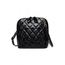 Simple Solid Color Diamond Check Quilted Crossbody Handbag 20*11*21 CM