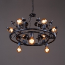 Living Room Round Chandelier 9 Lights Vintage Metal Ceiling Chandelier in Black