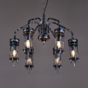 Silver Pillar Chandelier Light 6 Lights Vintage Metal Pendant Lamp for Dining Room