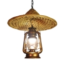 Hand Knitted Rain Hat Hanging Lamp Rustic Style Single Light Pendant Lamp with/without Spotlight