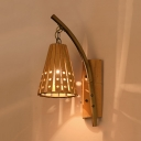 Bamboo Cone Shade Wall Lamp Country Style 1-Light Sconce for Restaurant Hallway, 19.5