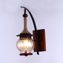 Industrial Orb Sconce Light Single Light Glass Wall Sconce in Brown for Dining Room