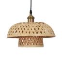 Vintage Pendant Light Single Light Pail/Dome/Bubble Rattan Pendant Lamp in Beige for Foyer