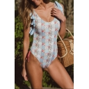 Womens New Trendy Fashion Floral Printed Ruffled Hem Bikini One Piece Swimsuit Swimwear