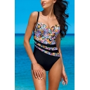 Womens New Chic Floral Pattern Stretch Fit Black One Piece Swimsuit Swimwear