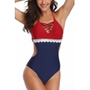 Womens New Trendy Colorblock Chic Lace Trim Halter One Piece Swimsuit Swimwear
