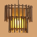 Bamboo Cylindrical Hanging Light Single Light Heritage Style Ceiling Lighting in Beige
