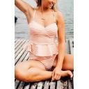 Womens Summer Orange Striped Printed Two-Piece Swimwear