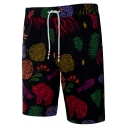 Men's Summer Awesome Pattern Drawstring Waist Black Beach Swim Shorts